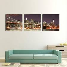 >discount 3 panel wall art blue brooklyn bridge and manhattan skyline  discount 3 panel wall art blue brooklyn bridge and manhattan skyline at night new york city light painting on canvas for home decor decoration from china