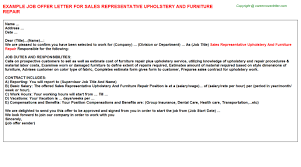 Sales Representative Upholstery And Furniture Repair Job Offer ...