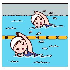 クロール競泳(カラー)/プール開きの無料イラスト/夏の季節・行事/学校素材