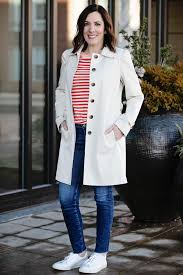 spring transition look featuring loft modern trench coat j crew contrast slub cotton ringer