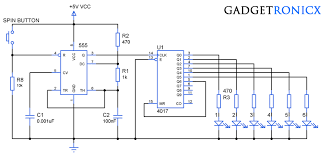 electronic dice circuit using ic cd4017 gadgetronicx Wiring Diagram Symbols at 4017 Wiring Diagram