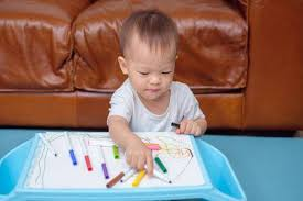 Cute Little Asian 18 Months / 1 Year Old Toddler Boy Child Drawing ...