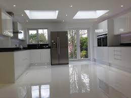 gloss white kitchen floor tiles