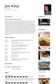 National Sales Manager/Corporate Chef Resume samples