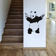 banksy panda uk wall sticker on panda wall art uk with banksy panda with guns wall art by wallboss wallboss wall stickers
