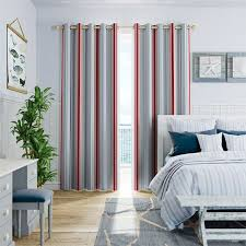 Deauville Coastal Blue Curtains   Pastel Blue Stripes Predominate While A  Stripe Of Navy Adds Depth