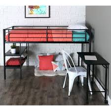 twin loft with desk twin modern metal loft bed with desk and shelves black finish twin