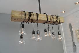 wood beam 8 light cascade pendant