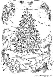 Print Adults Christmas Tree In Nature Coloring Pages Christmas