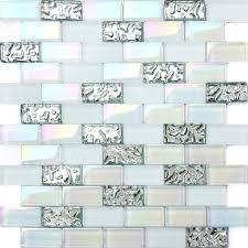 tst 1x2 super white iridescent subway brick glass mosaic tile for kitchen backsplash bath shower wall
