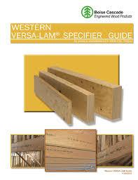 Boise Cascade I Joist Hole Chart Western Versa8lam Specifier Guide