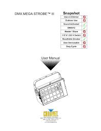 Chauvet Dmx Mega Strobe Iii User Manual Manualzz Com
