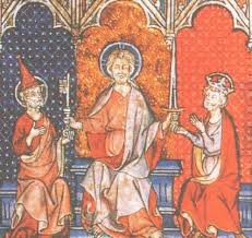Католическая церковь в веках История Средних веков  Иисус вручает ключ папе римскому а меч императору Миниатюра xiii в