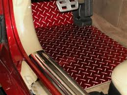 Corvette Floor Mats - Diamond Plate 2pc Red Show 1999-2004 C5 & Z06 must  specify year  American Car Craft