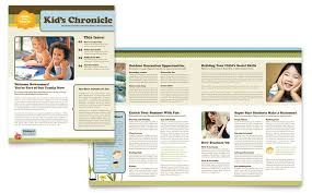 School Newspaper Template Publisher Education Training Newsletters Templates Design Examples