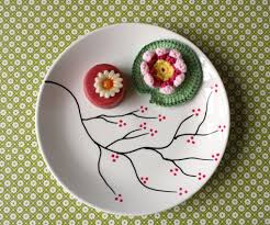 I was looking for nice little decorated plates for years. When I discovered  ceramic markers, I was no longer afraid to try and make them myself.