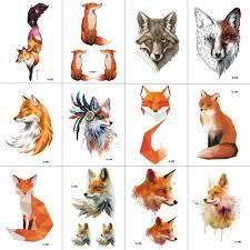 купить товар Wyuen 12 штлот лиса временные татуировки стикеры для