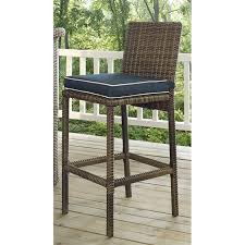 crosley bradenton outdoor wicker bar stool with cushion set of 2