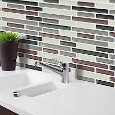 Black&Brown&Gray 3D Mosaic Wall Stickers Backsplash Tile Wallpaper Bathroom  Kitchen Home Decor