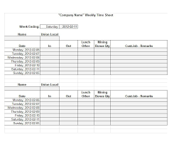 Printable Timesheets For Work Template Business Psd Excel