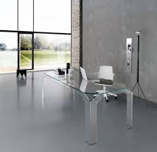 clear office desk. Modern All Clear Glass Office Desk With White Chair Also Tripod Floor Lamp: