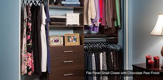 custom walk in closet with white finish in seattle flat panel small closet with chocolate pear finish in seattle wa