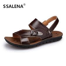 summer open toe sandals breathable leather men s casual shoes fashion outdoor anti slip slippers high quality b1207