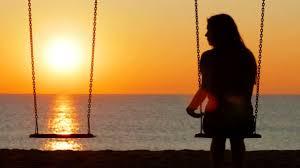 Back View Silhouette Sad Girl Sunset Missing Her Partner Swing — Stock  Video © AntonioGuillemF #244083790