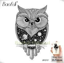баофули карандашный эскиз сова мультфильм временные татуировки геометрические искусства татуировки черный водонепроницаемый поддельные татуировки