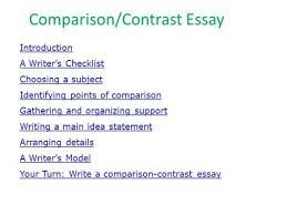 compare and contrast essay comparing media coverage page cos  comparison contrast essay introduction a writer s checklist choosing a subject identifying points of comparison gathering