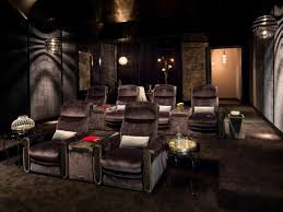 contemporary gray home theater with fabric wall panels