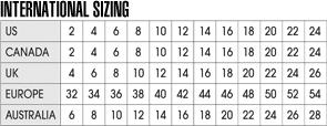 Womens Size Charts