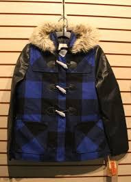 new girls junior size large l warm blue plaid utility jacket w faux fur hood