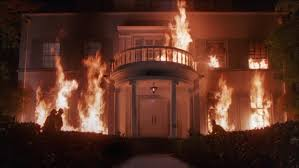 fire columns firemen working fire burning two story upscale white colonial style house sorority house columns fire columns