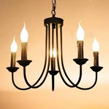 Contracted Black Painted Iron 5 Lights Living Room Chandeliers Romantic  Bedroom Chain Pendant Lamps Dining Room