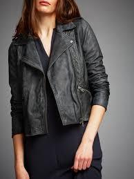 lyst minimum kara leather jacket in gray
