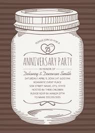 rustic mason jar 25th wedding anniversary invitations vine country cards