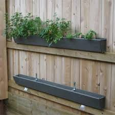 gutter garden on a fence