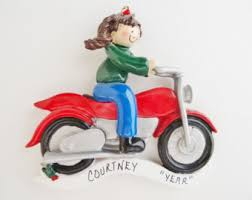 Female Motorcycle Rider Ornament - Personalized Motorcycle Female Rider Christmas  Ornament