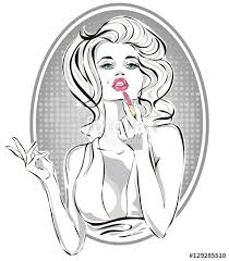 pin up fashion beautiful woman applying pink lipstick pop art putting makeup vector