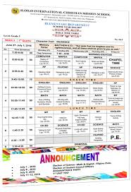 Daily Time Table Daily Time Table Grade Three Iloilo International Christian