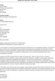Lab Tech Cover Letter Under Fontanacountryinn Com