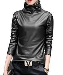 teapolity womens faux leather long sleeve winter turtleneck blouse top t shirt at women s clothing