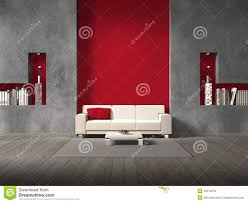 Maroon Living Room Furniture Modern Living Room With Maroon Wall Stock Illustration Image