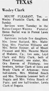 Obituary for Wesley Franklin Clark (Aged 84) - Newspapers.com