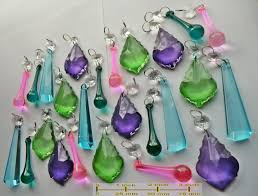 25 cool color chandelier drops glass crystals shabby prisms chic mix beads vintage tree wedding decorations crafts light parts