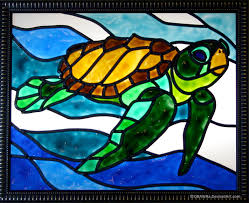 faux stained glass sea turtle