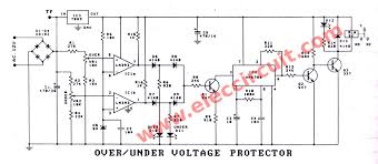 over under voltage protection circuit eleccircuit com 0ver under voltage protector using lm393 figure 1 the circuit diagram
