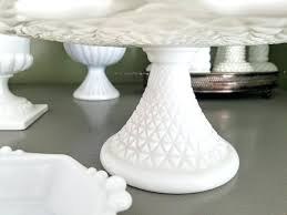 displaying milk glass cake plate stand pink collecting and glass blue milk cake stand