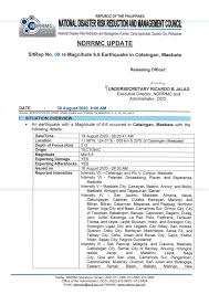 An earthquake with a magnitude of 6.5 struck central mindanao in the southern philippines, causing at least one hotel on the island to collapse, a. Ndrrmc Update Sitrep No 09 Re Magnitude 6 6 Earthquake In Cataingan Masbate 30 August 2020 8 00 Am Philippines Reliefweb